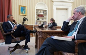 President Obama receives updates on Boston bombings. (Via: White House)