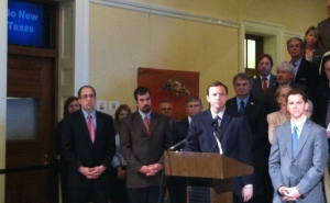 "Speaker Eves takes question from media, as Governor LePage's office broadcasts a message of ""No New Taxes"""
