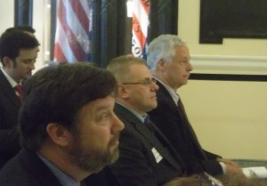 Patrick Therrien, flanked by GWI's Fletcher Kittredge and US Congressman Mike Michaud.