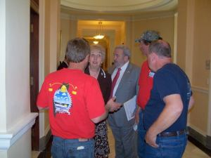 Senator Haskell is lobbied by members of Maine Lobstering Union.