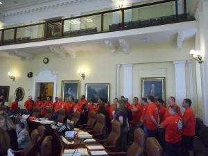 Members of the Maine Lobstering Union speaking with senators.