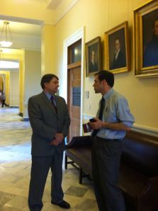 Senator Troy Jackson and  legislative aide Marc Malon