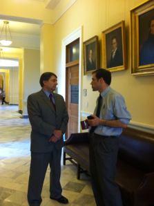 Senator Troy Jackson and  legislative aide Marc Malon