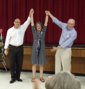 Eloise Vitelli chosen as Democratic candidate for Dist. 19 special election on Aug. 27. Seen here with David Sinclair (left) and Will Neilson (right). Photo credit to Times Record.