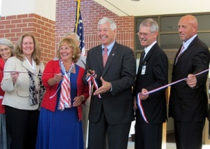 Maine's First Lady Ann LePage attends VA ribbon cutting ceremony in Lewiston with US Congressman Rep. Mike Michaud, who is now running for her husband's office in 2014.