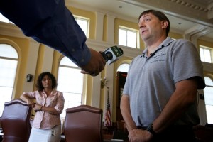 Maine Senate Majority Leader Troy Jackson, D-Allagash, condemns anti-gay and anti-Catholic Church statements made by Michael Heath and Paul Madore in Augusta Wednesday. (Photo credit BDN)