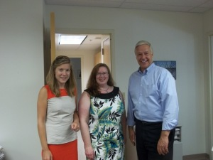 MDP Communications Director Lizzy Reinholt, State Senator Colleen Lachowicz and Democratic gubernatorial candidate Rep. Mike Michaud today in Augusta