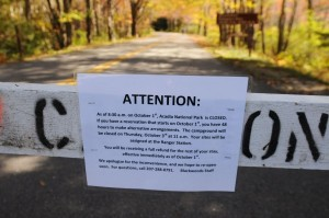 A sign at the entrance of Blackwoods Campground in Otter Creek informs campers on Tuesday of the campground's closure because of the federal government shutdown. (photo credit to BDN)
