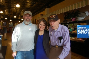 Shenna with her father Dexter Bellows and grandfather Bill Bellows at Forage Market in Lewiston.