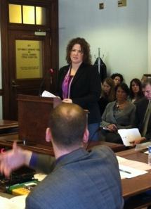 Senator Emily Cain listens as CJPS committee member Rep. Corey Wilson (R-Augusta) asks a question.