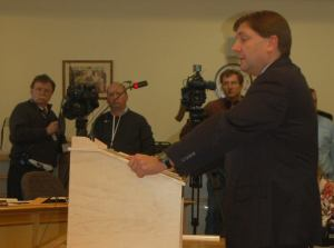 Senate Majority Leader Troy Jackson (D-Allagash) testifies before the HHS Committee on his bill, LD 1663.
