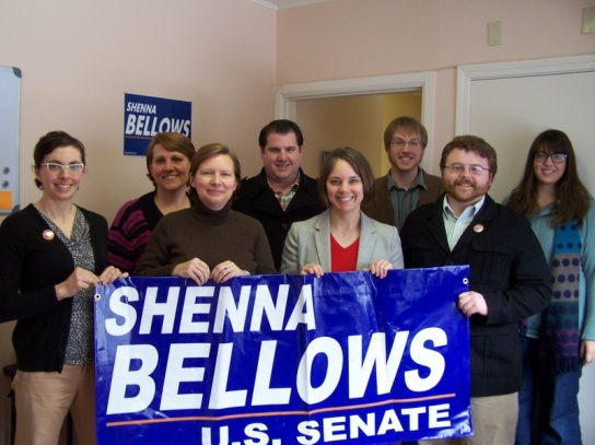 Shenna Bellows and senior staff members at new Augusta campaign office.