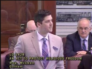 Rep. Andrew McLean (D-Gorham) addresses colleagues during LD 1428 debate.