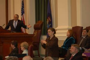 Governor Paul LePage motions to Maine Supreme Court Chief Justice Leigh Saufley during his State of the State address