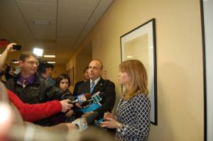 Mayhew fields  questions from Maine media regarding the $900k+ Alexander Report, while Gary Alexander stands silently by.