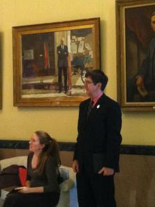 Sarah Bigney and Sen. John Patrick (D-Rumford) at the State House.