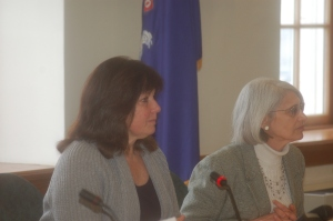 Senator Dawn Hill and Rep. Peggy Rotundo, chairs of the legislature's Appropriations and Financial Affairs Committee, listen to testimony at a public hearing.