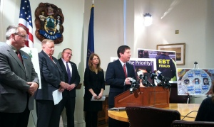 Rep. Fredette addresses media during press conference.