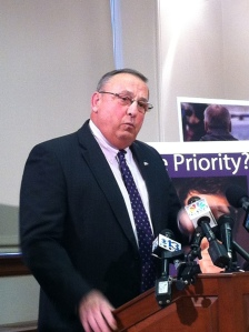 Gov. Paul LePage discusses his EBT/ TANF reform bills LDs 1815, 1820, 1822 and 1842 at a press conference.