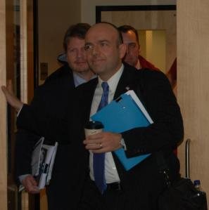 Gary Alexander and associate Erik Randolph exit Maine HHS Committee hearing, 1/14/14.
