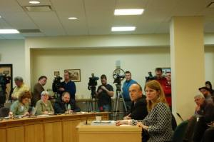 Gary Alexander and DHHS Commissioner Mayhew react to questions from HHS Committee member Rep. Peter Stuckey (D-Portland), 1/14/14.