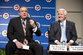 (Via BDN) David Bohrer | U.S. Chamber of Commerce Maine Gov. Paul LePage appeared with Pennsylvania Gov. Tom Corbett at a U.S. Chamber of Commerce summit in April 2013. Gary Alexander, the consultant hired by LePage to analyze Maine's Medicaid and welfare programs, stepped down as Corbett's welfare chief in February 2013.