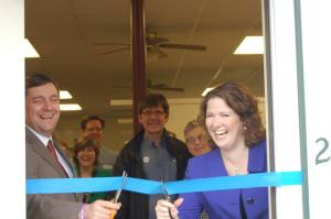 2CD Democratic primary candidates Troy Jackson and Emily Cain cut the ribbon together at the opening of the Oxford County Democrats' 2014 office in S. Paris prior to the forum.