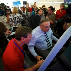 Governor Paul LePage flies an F-35 Lightning II simulator at a Pratt & Whitney employee appreciation event in North Berwick. (image via BDN)
