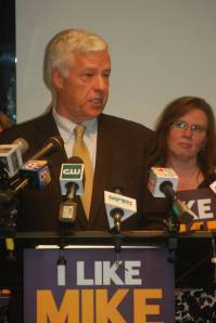 Mike Michaud at June 2014 press conference discusses plans as governor to create inspector general office, charged with investigating DHHS issues. Also pictured: State Senator Colleen Lachowicz (D-Kennebec)
