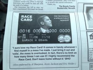 "Ad within the Ft Fairfield Journal newspaper available to the public outside Governor LePage's office. Note the reference to ""The Bundy Family"" above the racially charged anti-President Obama ad."