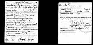 """World War 1 registration card of Joseph LePage. Note that he is listed as not a U.S. citizen but rather as """"Alien""""."""