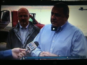Rep. Larry Lockman (R-Amherst) and Gov. Paul LePage address media at Cobscook Bay State Park, 10/17/13 (via WABI).