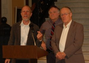 Aroostook Watchmen radio host Jack McCarthy speaks to Maine media at press conference. Also shown are fellow Constitutional Coalition members Phil Merletti and Wayne Leach