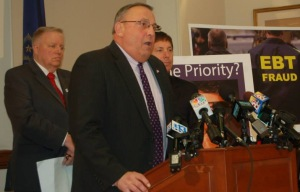 Governor Paul LePage at 3/24/14 press conference rolling out 4 EBT/ TANF reform bills. Also seen: Lewiston Mayor Bob Macdonald and House Minority Leader Ken Fredette (R-Newport)
