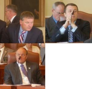 Senate President Mike Thibodeau, Majority Leader Garrett Mason and Asst Majority Leader Andre Cushing