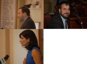 Speaker of the House Mark Eves, , Majority Leader Jeff McCabe and Asst Majority Leader Sara Gideon