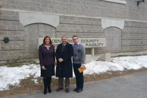 Sen. Linda Valentino, York County Sheriff Bill King and Rep. Justin Chenette at the Kennebec County Correctional Facility in Augusta