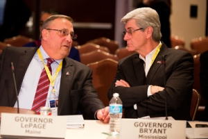 Feb. 22—Maine Governor Paul LePage and Mississippi Governor Phil Bryant at the Homeland Security & Public Safety Committee session, which was about the future of the National Guard.