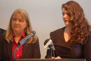 Senator Rebecca Millett (D-Cumberland) and Rep. Mattie Daughtry (D- Brunswick) speak at commission press conference.