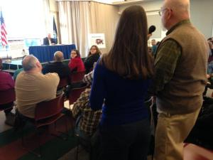 Governor LePage takes questions from the audience at Presque Isle town hall, 3/19/15