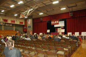 Dozens attended LePage's 3/11/15 town hall held in Auburn to hear what the governor had to say about his budget and tax reform.