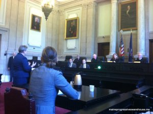Governor LePage's legal council Cynthia Montgomery delivers her argument to the Maine Supreme Judicial Court, 7/31/15.